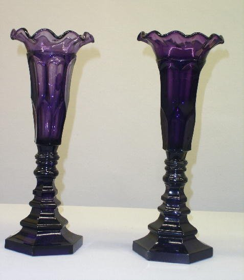 15: PAIR OF DEEP AMETHYST GLASS VASES. Attributed to th
