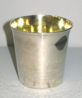 24: ENGLISH SILVER BEAKER. London hallmarks for 1763, p