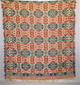 141: JACQUARD COVERLET. Two-piece Biederwand in tomato