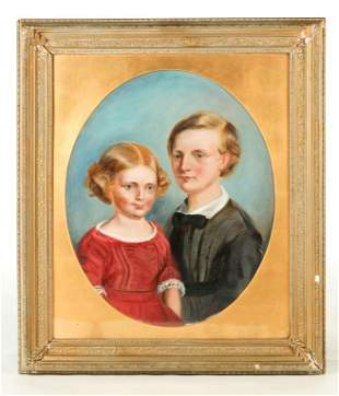 """PORTRAIT OF SIBLINGS SIGNED """"A.M. PENNEY""""."""
