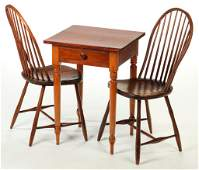 TWO AMERICAN WINDSOR CHAIRS AND SHERATON STAND.