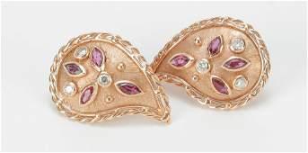 CUSTOM MADE GOLD, RUBY & DIAMOND EARRINGS.