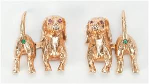 GOLD AND GEMSET DACHSHUND CUFFLINKS