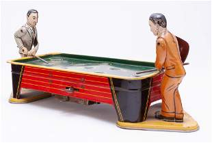 WIND-UP TIN TOY BILLIARD PLAYERS.