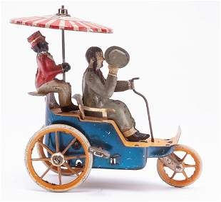 LEHMANN TIN LITHOGRAPHED TOY CYCLE CARRIAGE.