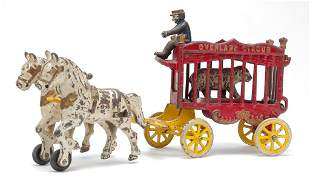 CAST IRON OVERLAND CIRCUS HORSE DRAWN WAGON.