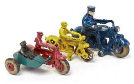 THREE CAST IRON HUBLEY MOTORCYCLE TOYS