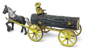 KENTON CAST IRON LOG WAGON WITH HORSE AND DRIVER