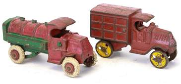 TWO CAST IRON TRUCK TOYS
