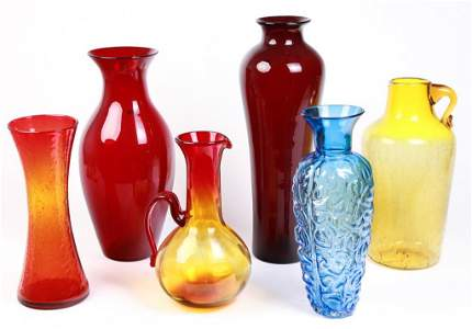 SIX LARGE PIECES OF AMERICAN BLENKO GLASS.