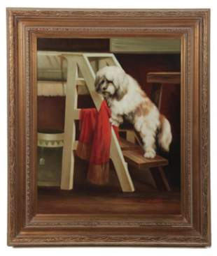 "PAINTING OF DOG SIGNED ""G. HARBERT""."
