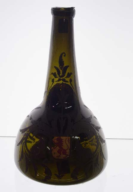 3: BLOWN GLASS BOTTLE. Olive green club with