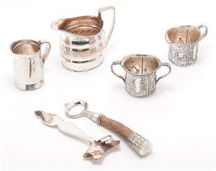 SIX PIECES OF AMERICAN SILVER PLATE AND STERLING.