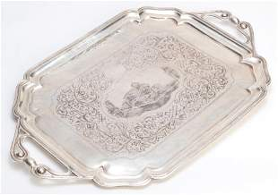 RUSSIAN ENGRAVED SILVER TRAY.