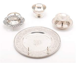 FIVE PIECES OF SILVER AND SILVERPLATE.