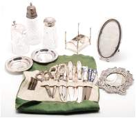 GROUP OF SILVER INCLUDING FRAMES AND FLATWARE