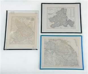 THREE FRAMED MAPS OF EUROPE.