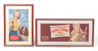 TWO ROYAL CROWN COLA  ADVERTISING POSTERS.