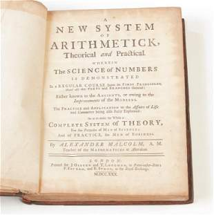 1730 NEW SYSTEM OF ARITHMETICK BY MALCOLM.