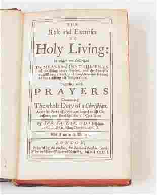 1686 HOLY LIVING AND HOLY DYING BY JEREMY TAYLOR.