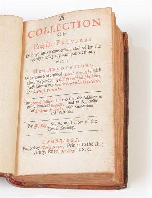 """A COLLECTION OF ENGLISH PROVERBS"" BY JOHN RAY."