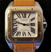 CARTIER SANTOS 100 STAINLESS /18K YELLOW GOLD.