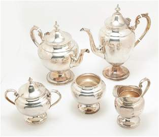 "AMERICAN GORHAM FIVE PIECE ""PURITAN"" TEA SET."