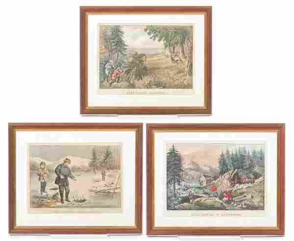 THREE AMERICAN CURRIER AND IVES PRINTS.