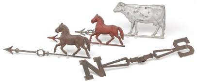 FOUR AMERICAN WEATHERVANE RELATED PIECES.