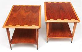 PAIR OF MID CENTURY MODERN END TABLES BY LANE.