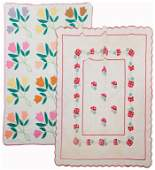 TWO AMERICAN APPLIQUE QUILTS.