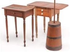 TWO AMERICAN SHERATON STANDS AND A CHURN.