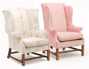 TWO ENGLISH CHIPPENDALE WINGBACK CHAIRS.