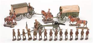 GERMAN WWI TOY SOLDIERS AND VEHICLES.