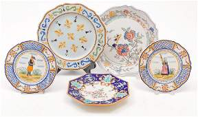 FIVE FRENCH FAIENCE PLATES.