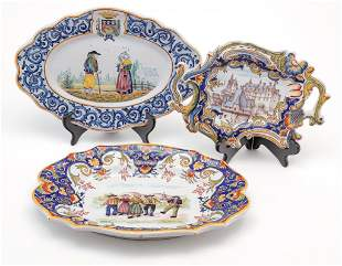 THREE FRENCH FAIENCE PIECES.
