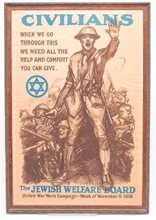 """AMERICAN """"JEWISH WELFARE BOARD"""" WWI POSTER."""