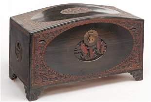 CHINESE CARVED AND LACQUERED TRUNK.