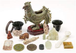 GROUP OF CHINESE STONE CARVINGS.