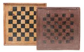 TWO AMERICAN DECORATED GAMEBOARDS.