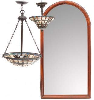 TWO HANGING LAMPS AND A MIRROR.