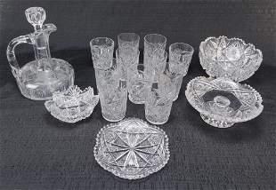 SIXTEEN PIECE OF AMERICAN CUT GLASS.