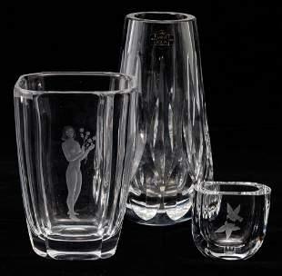 THREE EUROPEAN CRYSTAL GLASS VASES.