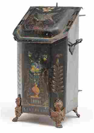 AMERICAN VICTORIAN DECORATED COAL HOD.