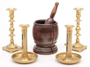MORTAR AND PESTLE WITH CANDLESTICKS.