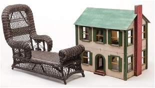 DOLL HOUSE AND CHILD SIZE CHAISE LOUNGE.