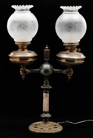 DOUBLE BRASS BANQUET LAMP.