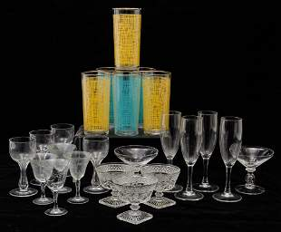 GROUP OF AMERICAN STEMWARE AND TUMBLERS.