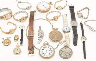 GROUP OF VINTAGE POCKET AND WRISTWATCHES.