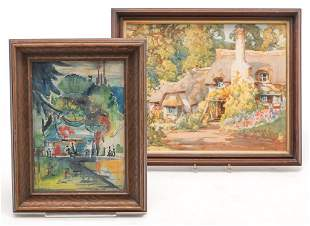 TWO WATERCOLOR PAINTINGS.